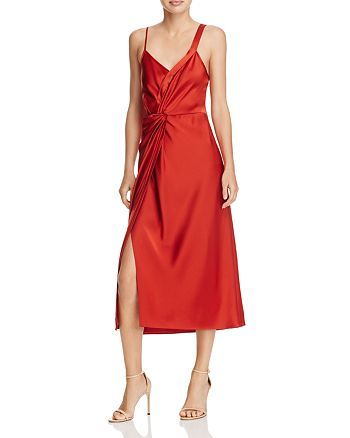 T by Alexander Wang - Knot-Front Satin Dress