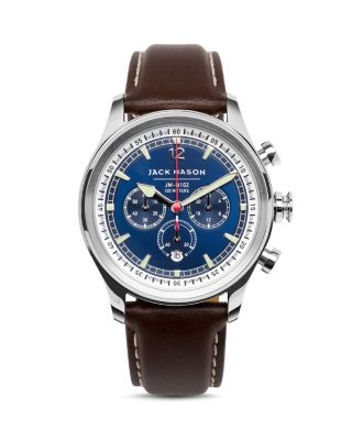 JACK MASON Nautical Stainless Steel & Italian Leather Sunray Dial Chronograph Strap Watch in Navy/ Brown