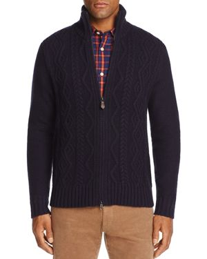 The Men's Store at Bloomingdale's Cable-Knit Zip Sweater -100% Exclusive
