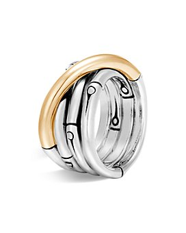 JOHN HARDY - Brushed 18K Yellow Gold and Sterling Silver Bamboo Ring