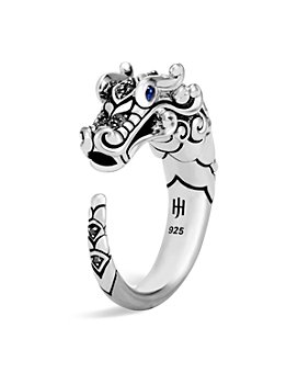 JOHN HARDY - Brushed Sterling Silver Naga Ring with Black Sapphire, Black Spinel and Blue Sapphire Eyes