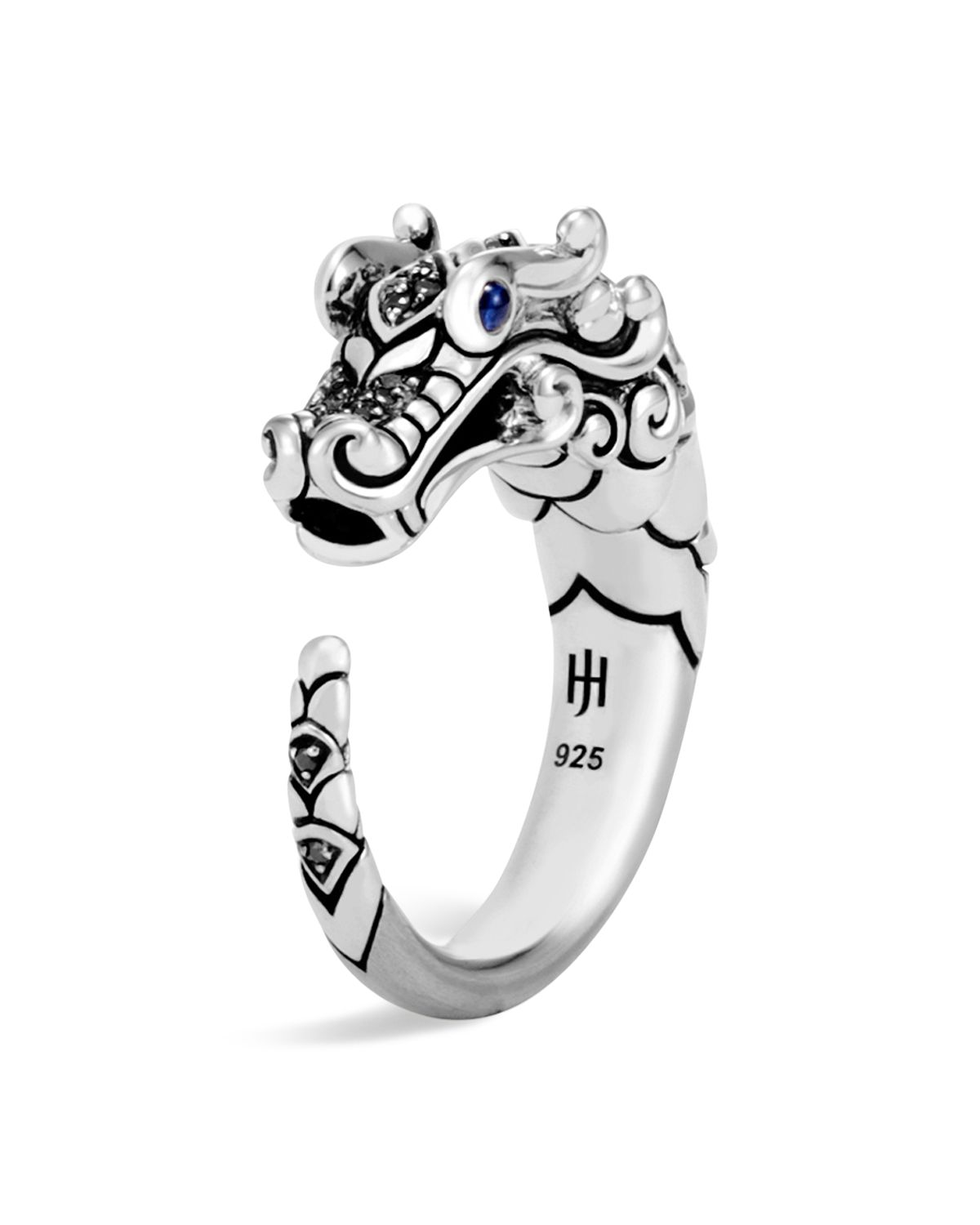 John Hardy Naga Ring With Black Sapphire, Black Spinel