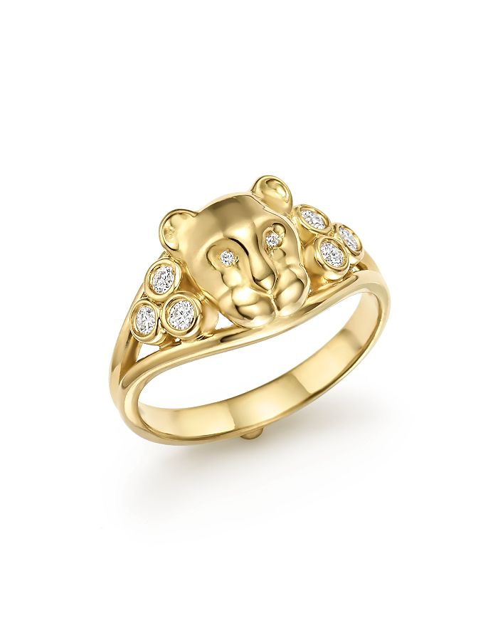 Temple St. Clair - 18K Yellow Gold Small Lion Cub Classic Diamond Ring