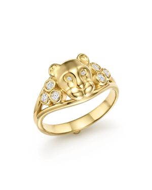 Temple St. Clair 18K Yellow Gold Small Lion Cub Classic Diamond Ring