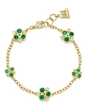 Temple St. Clair 18K Yellow Gold Emerald Trio and Diamond Bracelet