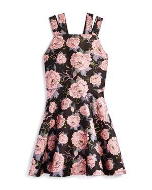Miss Behave Girls' Floral Split-Strap Dress - Big Kid