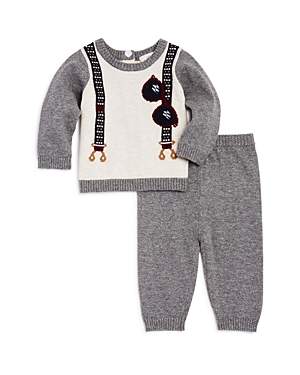 Miniclasix Boys Intarsia Suspenders Sweater  Pants Set  Baby