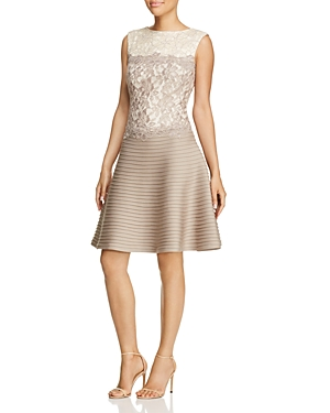 Tadashi Shoji Dress - Sleeveless Color Block Lace & Pintuck Fit and Flare