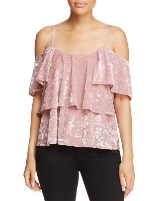 $Show Me Your MuMu Rosalie Velvet Ruffle Top - 100% Exclusive - Bloomingdale's