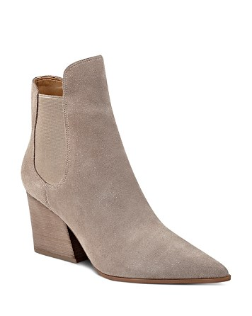 $KENDALL and KYLIE Finley Suede Pointed Toe Block Heel Booties - Bloomingdale's