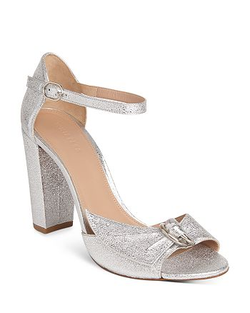Whistles - Women's Thurza Metallic Ankle Strap High Block Heel Sandals