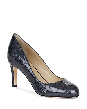 Hobbs London Sophia Croc-Embossed Patent Leather Court Pumps