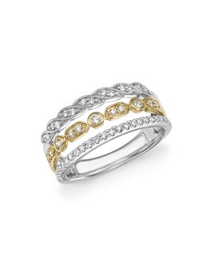 Diamond Triple Row Band in 14K Yellow and White Gold, .40 ct. t.w. - 100% Exclusive