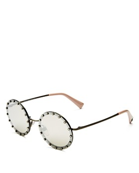 Valentino - Women's Mirrored Embellished Round Sunglasses, 53mm