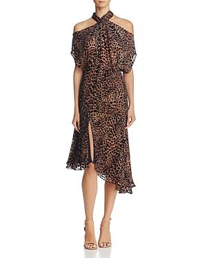 Reiss Zhen Velvet Burnout Cold-Shoulder Dress - 100% Exclusive