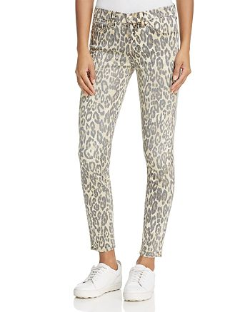 7 For All Mankind - Skinny Ankle Jeans in Cheetah Print