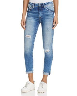 MAVI Tess Distressed Skinny Ankle Jeans In Mid Indigo Vintage