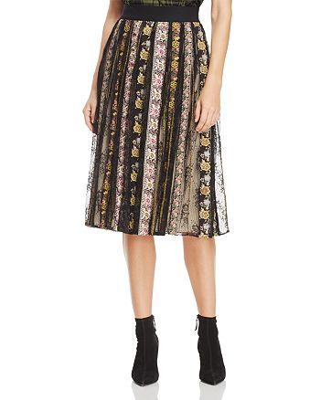 Alice and Olivia - Birdie Embroidered Midi Skirt