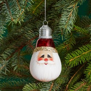 Bloomingdale's Glass Santa Light Bulb Ornament - 100% Exclusive