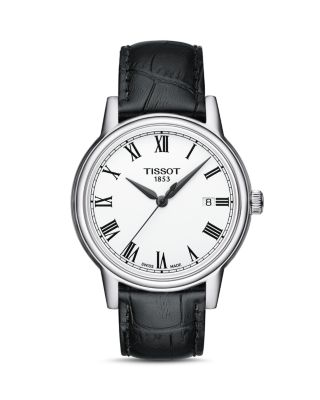 Carson Leather Strap Watch, 39Mm in Black/ White/ Silver