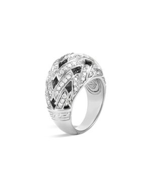 John Hardy Classic Chain Sterling Silver Diamond Pave Dome Ring