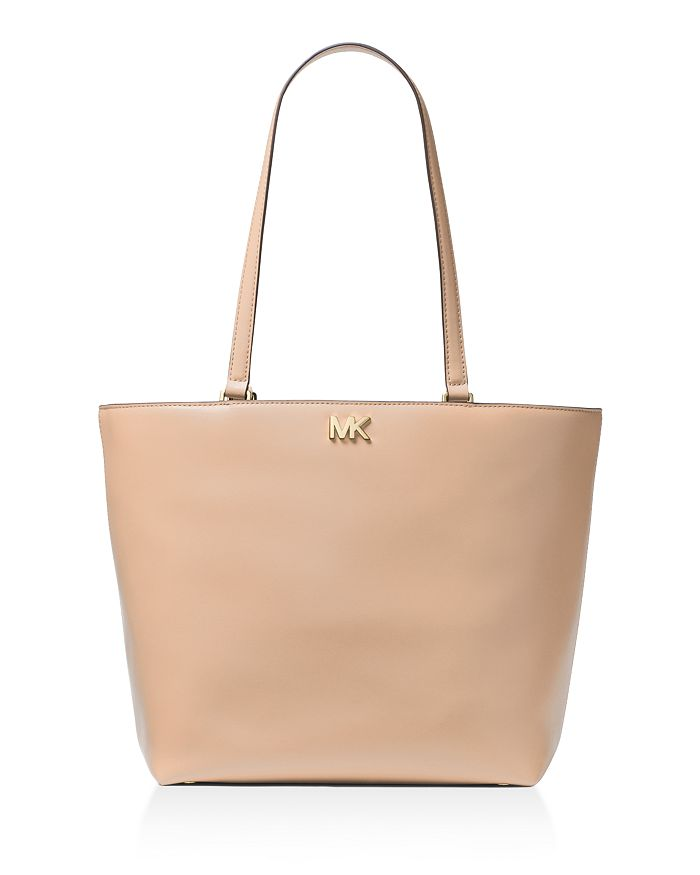 Michael Michael Kors Mott Medium Leather Tote In Oyster Nude/gold