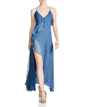 Haute Hippie Metamorphosis Silk Ruffle Wrap Maxi Dress