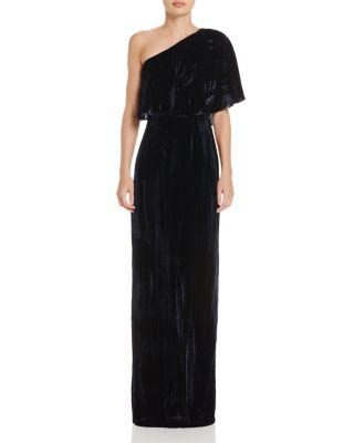 One Shoulder Long Crushed Velvet Gown