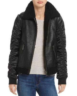 TALLY SHEARLING TRIM MIXED MEDIA JACKET