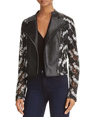 Yigal x Aqua Lace & Faux Leather Moto Jacket - 100% Exclusive