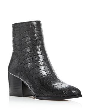 1.state Women's Jahmil Croc Embossed Leather High Block Heel Booties
