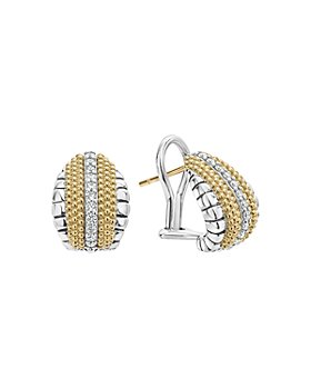 LAGOS - 18K Gold and Sterling Silver Diamond Lux Pear Huggie Earrings