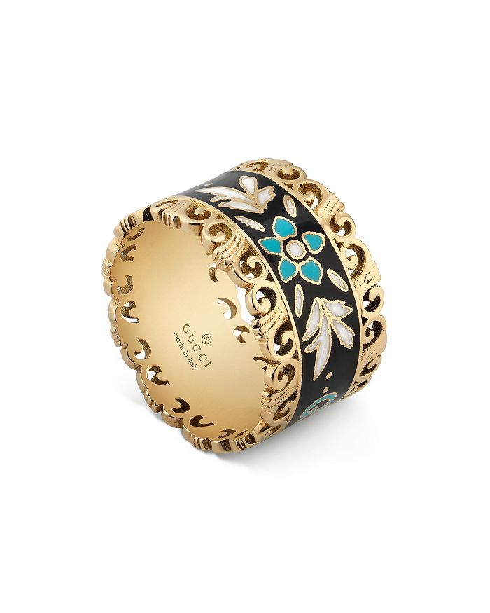 Gucci - 18K Yellow Gold Blue and Black Icon Blooms Ring