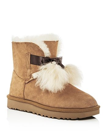 fff59cf8fed UGG® Women's Gita Sheepskin & Fur Pom-Pom Booties | Bloomingdale's