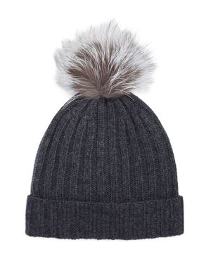 The Men's Store at Bloomingdale's Ribbed Fur Pom Hat