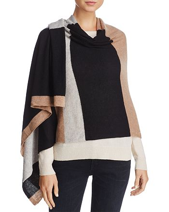 C by Bloomingdale's - Stripe Oversized Cashmere Wrap - 100% Exclusive