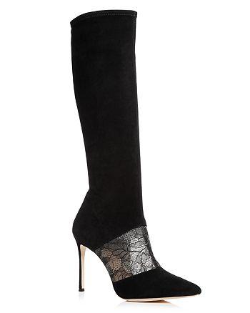 Pour La Victoire - Pour La Victoire Women's Ceri Suede & Lace Tall Boots