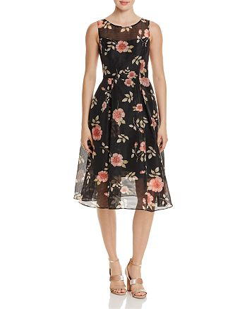Adrianna Papell - Floral Print Striped Organza Dress