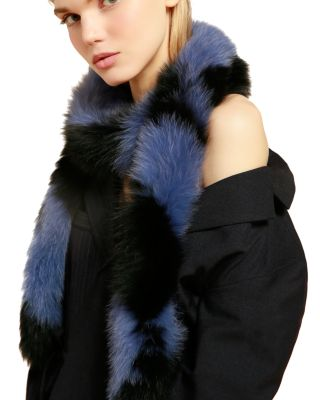 Lacey Faux-Fur Scarf in Black/Blue