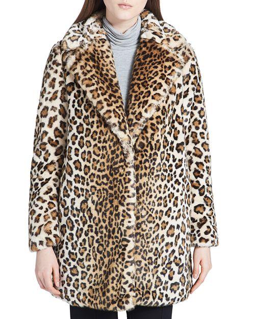 Calvin Klein - Faux-Fur Leopard Coat