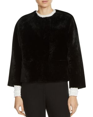 Maje Veslain Cropped Shearling Jacket