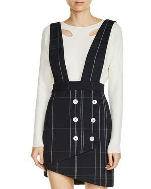 Maje Jola Plaid Skirt with Straps