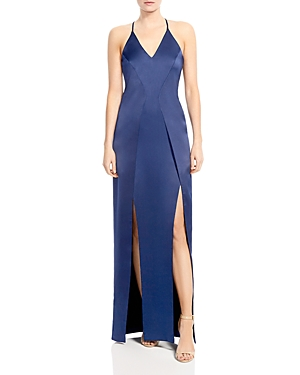 Halston Heritage Satin Illusion-Back Slip Gown