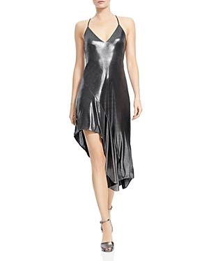Halston Heritage Metallic Asymmetric-Skirt Dress