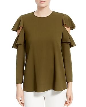Halston Heritage Ruffled Cutout-Sleeve Silk Top