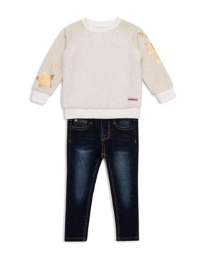 Hudson Girls' Fuzzy Star Sweater & Jeans Set - Little Kid thumbnail