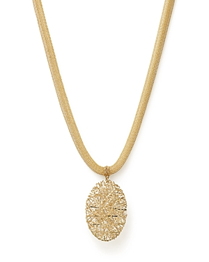 14K Yellow Gold Woven Mesh Necklace with Oval Pendant - 100% Exclusive