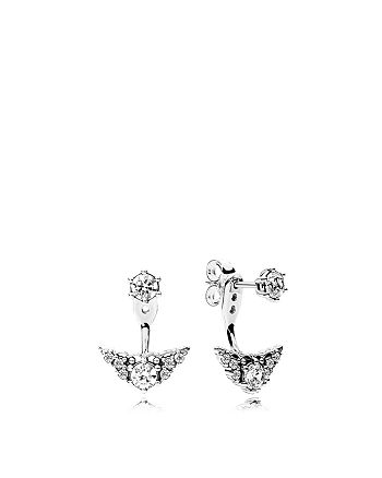 67a4fb80a Pandora - Sterling Silver & Cubic Zirconia Fairytale Tiara Stud Earrings