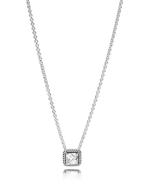 PANDORA - Sterling Silver & Cubic Zirconia Timeless Elegance Pendant Necklace