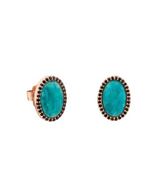 TOUS AMAZONITE & BLACK SPINEL OVAL STUD EARRINGS